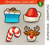 Funny Christmas icons-2 - stock vector