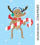 cute christmas deer with hard... | Shutterstock .eps vector #236649685