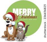 cute cartoon dog and cat merry... | Shutterstock . vector #236656825