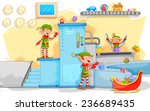 illustration of elf making... | Shutterstock .eps vector #236689435