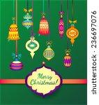 merry christmas retro... | Shutterstock .eps vector #236697076