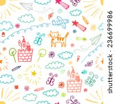 Children drawings color seamless pattern. | Shutterstock vector #236699986