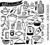 hand drawn kitchen doodles | Shutterstock .eps vector #236720632