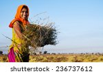 indian girl working on the farm.... | Shutterstock . vector #236737612