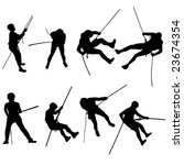 rappelling silhouettes | Shutterstock .eps vector #23674354