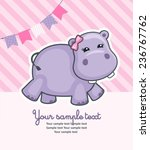 baby shower card with hippo | Shutterstock .eps vector #236767762