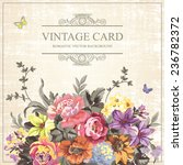 vintage floral vector card with ... | Shutterstock .eps vector #236782372