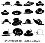ladies hat icons set | Shutterstock .eps vector #236823628