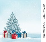 christmas tree with presents... | Shutterstock .eps vector #236824732