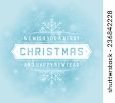 christmas retro typography and... | Shutterstock .eps vector #236842228