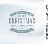 christmas retro typography and... | Shutterstock .eps vector #236842396