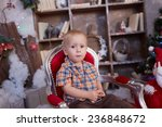 active  cheerful kid is sitting ... | Shutterstock . vector #236848672