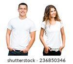 white t shirt on a young man... | Shutterstock . vector #236850346