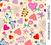 floral   hearts seamless... | Shutterstock .eps vector #23685712