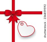 red ribbon with heart sticker... | Shutterstock .eps vector #236859592