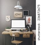 stylish workspace with computer ... | Shutterstock . vector #236872675