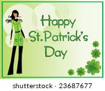 beautiful girl and shamrock... | Shutterstock .eps vector #23687677
