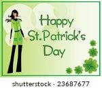 beautiful girl and shamrock...   Shutterstock .eps vector #23687677