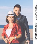 couple in love with beach... | Shutterstock . vector #236904352