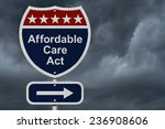 affordable care act sign  a red ... | Shutterstock . vector #236908606