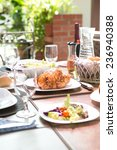 outdoor dining meal complete... | Shutterstock . vector #236940388