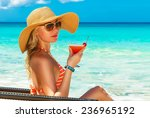 beautiful young girl in bikini... | Shutterstock . vector #236965192