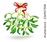 christmas mistletoe with a red... | Shutterstock . vector #236967508