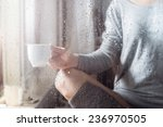 young woman with cup throw the...   Shutterstock . vector #236970505
