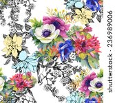 Stock photo colorful garden flowers seamless pattern on white background 236989006