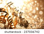 golden streamers on abstract... | Shutterstock . vector #237036742