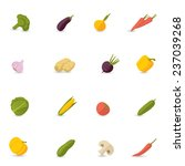 food vegetables flat set of... | Shutterstock . vector #237039268