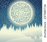 Christmas background with snowflakes, moon, hares and typographic doodle. Happy Holidays - stock vector