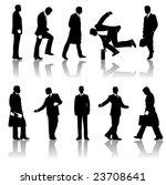 ten businessmen silhouettes   Shutterstock . vector #23708641