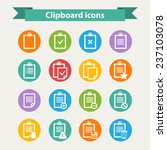 clipboard icons set in flat...