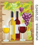bottles of red and white wine... | Shutterstock .eps vector #237105472