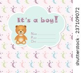 baby boy arrival card. baby... | Shutterstock .eps vector #237109072