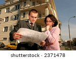 real estate agent showing flat... | Shutterstock . vector #2371478