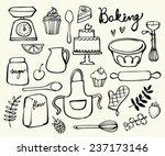baking kitchen icons doodle...