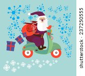Santa Claus Riding On A Moped...