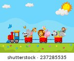 cute animal on train | Shutterstock . vector #237285535