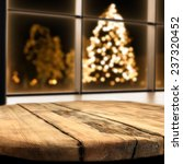 Table Of Wood And Xmas Tree
