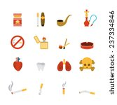 smoking icon flat set with... | Shutterstock .eps vector #237334846