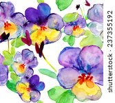Pansy Flowers Seamless Pattern...