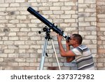 adult man and telescope with... | Shutterstock . vector #237372982