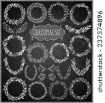 christmas hand drawn wreath set ... | Shutterstock .eps vector #237374896