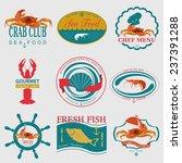 set of vintage sea food logos.... | Shutterstock .eps vector #237391288