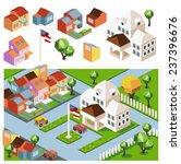 sunny day neighborhood.... | Shutterstock .eps vector #237396676