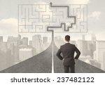 businessman looking at road... | Shutterstock . vector #237482122