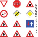 give way road signs | Shutterstock .eps vector #237486136