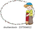 vector drawing boy with blank... | Shutterstock .eps vector #237506812